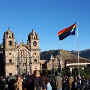 Reise Hunter Cusco Flagge Vielfalt Kirche