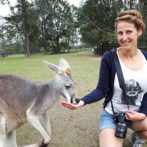 Reise Hunter Australien Bisbane Lone Pine Sanctuary Känguruhandfütterung