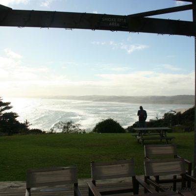 Reise Hunter Neuseeland Raglan Camping Aussicht Meer