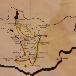 Reise Hunter Mongolei Route