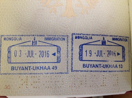 Reise Hunter Mongolei Passstempel