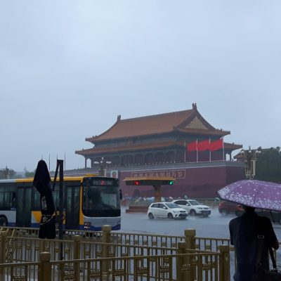 Reise-hunter-peking Blick auf verbotene Stadt im Regen