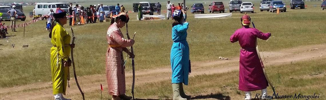 Reise Hunter Mongolei Nadaam Bogenschießen Titel